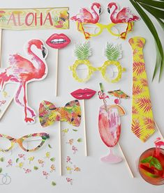 Cool tropical inspired hen party photo props. Perfect for a summer fiesta hens night or bridal shower.