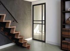 #hout #glas #glasdeur #industrieel #open #licht #zwart #inspiratie #deureninspiratie #weekamp Stairs, Furniture, Design, Home Decor, Entrance Gates, Internal Glazed Doors, Stairway, Decoration Home, Room Decor