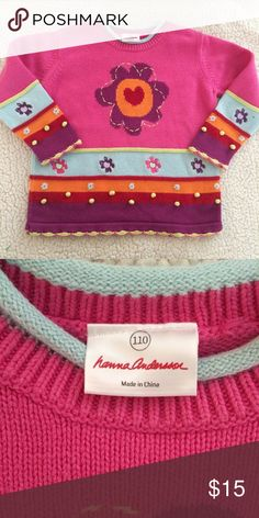Hanna Andersson sweater EUC. Cotton sweater with embroidered detail. Size 110-fits 5-6 years. Smoke free pet free home. Hanna Andersson Shirts & Tops Sweaters