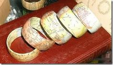 Decoupage wooden bangle bracelets.