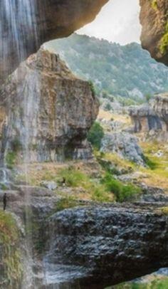 See Baatara Gorge Waterfall's three natural bridges