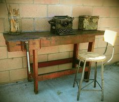 Woodworkers bench console table desk
