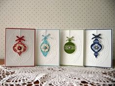 Lovely, lacey ornament cards from Mary Hines