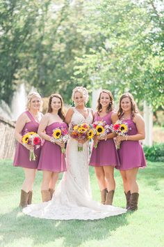 From the boots to the sunflowers, this is the perfect look for a sweet summer-country wedding // Photo by Jennie Andrews  #summerwedding #southernwedding #castletonfarms #bridesmaidsdresses #bridesmaids