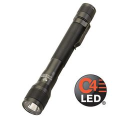 """Don't let the name """"Junior"""" fool you. The Streamlight Jr.® LED lights may be lightweight and compact, but the light they produce is anything but small. C4® LED technology emits a blast of bright light with a far-reaching beam that you'd never expect from a flashlight this size. And the Jr. LED series of lights are big on dependability too. They run up to 4 continuous hours on two """"AA"""" alkaline batteries.Powered by two """"AA"""" alkaline batteries (included) or two """"AA"""" lithium batteries.1 watt"""