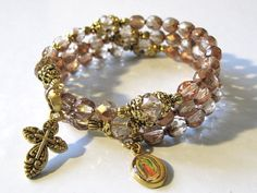 Wrap Rosary Bracelet Victorian Antique Style Fire by OurLadyBeads, $15.00