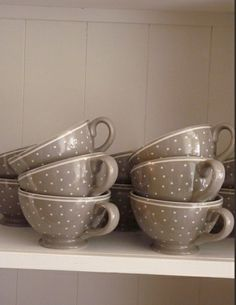 Taupe cups with dots