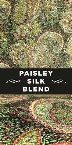 Green Tone Paisley Print Metallic Silk and Wool Blend Textile Pattern Design, Paisley Pattern, Textile Patterns, Paisley Print, Sewing Patterns, Textiles, Striped Upholstery Fabric, B And J Fabrics, Dog Days