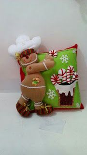 Gingerbread-candy cane felt pillow-no pattern. Christmas Cushions, Christmas Pillow, Felt Christmas, Christmas Stockings, Christmas Crafts, Christmas Decorations, Christmas Ornaments, Holiday Decor, Felt Crafts