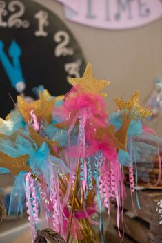 Fun wands at a Cinderella princess birthday party! See more party planning ideas at CatchMyParty.com!