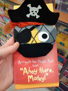 Argyle Pirate Sock Puppet. @Sarah Anderson