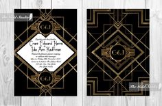 Printable Art Deco 1920s style wedding invitation. Great gatsby hollywood elegance. Black and gold. Digital file only or print with us by TheGoldStudio on Etsy https://www.etsy.com/listing/215194592/printable-art-deco-1920s-style-wedding