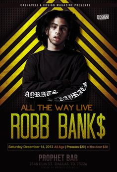 December 14 @ Prophet Bar - Elm Street - Cashaveli & Cosign Magazine present Robb Bank |Robb Bank$ | Amber London | Blacktag | Crit Life