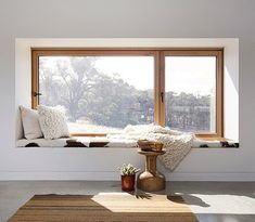 A home may not always be complete without a bay window seat. Whether it is a house or an apartment, you can have at least one. Make sure that these bay window seats are suitable for the whole conce… Bedroom Windows, Living Room Windows, Living Spaces, Bay Windows, House Windows, Wood Windows, High Windows, Attic Bedrooms, Windows And Doors