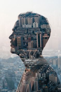 Stock Photo : man and cityscape,double exposure