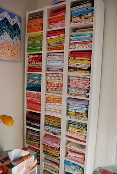 sewing fabric storage Best matches for picking fabrics for quiltsWhen choosing fabrics for a quilt start with a print that you really like, preferable one that has just a few colors in it. Using the colors in your main. Jump to text Sewing Room Design, Sewing Room Storage, Sewing Spaces, Sewing Room Organization, Craft Room Storage, My Sewing Room, Sewing Rooms, Fabric Storage, Fabric Boxes