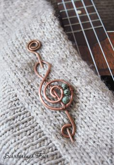 G Clef shawl or sweater pin For our complete collection of hand made jewellery visit handmade-jewellery-collection.tumblr.com