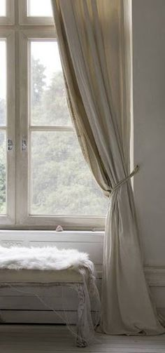 Peaceful and beautiful linen curtains, love the earthy tone and feel of the space. Earth feng shui element decor - http://fengshui.about.com/od/topfengshuiproducts/tp/feng-shui-earth-element.htm - brings a sense of belonging, nurturing and calm to any space. Find more feng shui decor tips: http://FengShui.About.com
