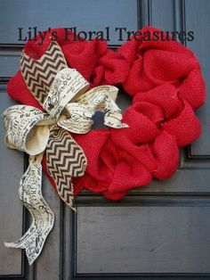 Valentine's Day Wreath Red Burlap Heart by LilysFloralTreasures