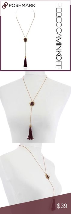 """NWT Rebecca Minkoff Jeweled Tassel Necklace ➖NWT ➖BRAND: Rebecca Minkoff ➖SIZE: 22"""" + 3"""" extender  ➖STYLE: A gold Y chain that meets in the middle at a ruby like jewel and ends at a burgundy / ruby colored tassel.   ❌ NO TRADE  dainty delicate statement   Entropycat Rebecca Minkoff Jewelry Necklaces"""