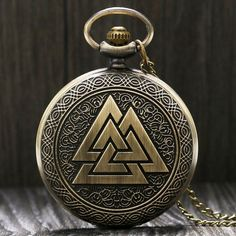 Buy Vintage Triangle Valknut Norse Vikings Pocket Watch Necklace Chain Fob Watches Gifts at Wish - Shopping Made Fun Quartz Necklace, Men Necklace, Necklace Chain, Modern Pocket Watch, Le Double, Quartz Pocket Watch, Pocket Watch Necklace, Norse Vikings, Viking Jewelry