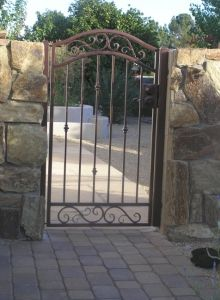 Wooden Pedestrian Gate | ... To Decorative Wrought Iron Gates 4 Rail Full  Bell