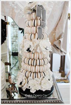 Allexendria pelengrino macaron cake tower in black and white