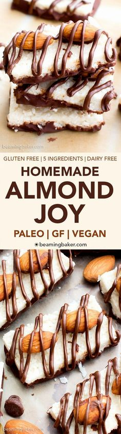 Paleo Almond Joy - 5 Paleo Almond Joy - 5-ingredient recipe for deliciously satisfying homemade chocolate, almond, and coconut candy. Vegan, dairy free, and gluten free