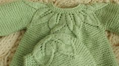 3 6 months Apple green sweater girl with Cap fine motif lace