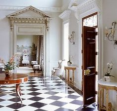 Foyer of all foyers; plaster mouldings, parquet flooring, pediments, oh my! My dream foyer. Design by Suzanne Kasler. Classic Interior, Home Interior, Interior And Exterior, Interior Design, Modern Interior, Foyer Decorating, Interior Decorating, Architecture Details, Interior Architecture