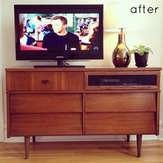 turning a dresser into an entertainment center.  i've been trying to explain this to J, so i'm excited to find a tutorial!