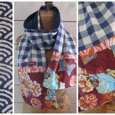 """Foulard patchwork vichy bleu doublé et coton japonais """"papillons"""""""