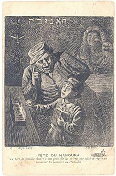 Fete du Hanouka, Alphonse Levy (c. image from The Library of The Jewish Theological Seminary Shabbat Candlesticks, Jewish Art, Religion, Torah, Hanukkah, History, Antiques, Artists, Alsace