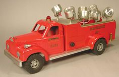 """Smith-Miller Toy Truck, New York Fire Dept Engine Co. No.1 Search Light Mack Fire Truck. Fred Thompson production """"SM3007-0044/150"""". Excellent condition. 19 inches long."""