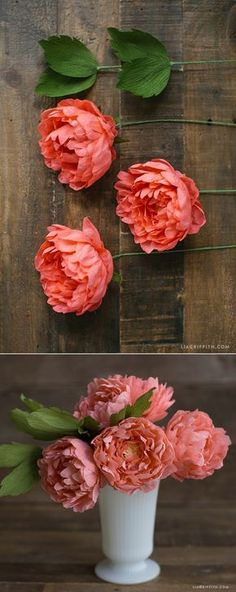 32 Ideas for flowers fabric diy paper peonies Faux Flowers, Diy Flowers, Fabric Flowers, Paper Flowers Craft, Flower Crafts, Flower Art, Crepe Paper Decorations, Paper Garlands, Paper Flowers