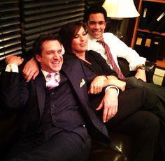 Raul Esparza (one of the ADAs in the newer seasons) Mariska and Danny on the set