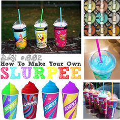 How To Make Your Own Slurpee  I just did this and used Mountain Dew along with some colored ice cubes with watermelon chunks in them!! My life Is changed!
