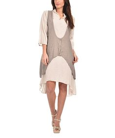 This Taupe Tie-Back Layered Dress is perfect! #zulilyfinds