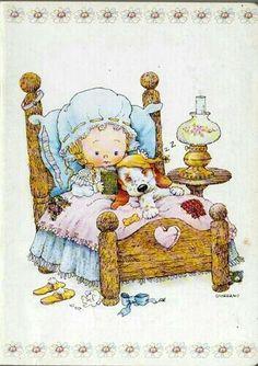 inbed.quenalbertini: Greg Giordano Art Sarah Kay, Happy 2nd Birthday, Good Night Moon, Holly Hobbie, Christmas Scenes, Cute Illustration, Big Eyes, Vintage Postcards, Animal Drawings