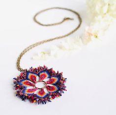 Boho hippie mandala macrame flower necklace with by KnottedWorld