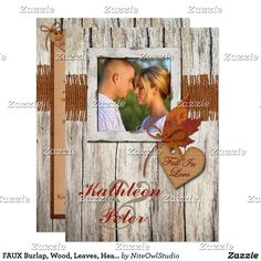 FAUX Burlap, Wood, Leaves, Heart PHOTO Wedding Card