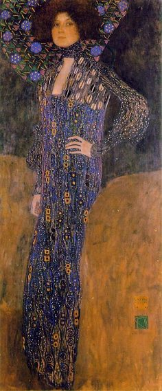 'Portrait of Emilie Flöge' - 1902 - by Gustav Klimt (Austrian, 1862-1918) - Oil on canvas - 178.0x 80.0cm. - Historical Museum of the City of Vienna, Vienna, Austria - Style: Art Nouveau (Modern) - @Mlle