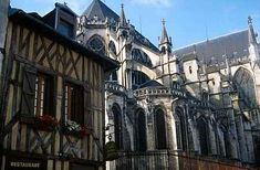 France. Troyes Cathedral and an old house