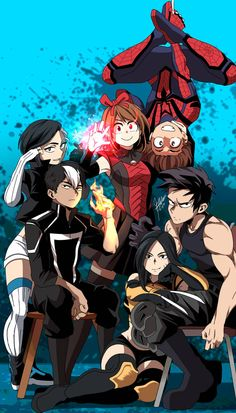 """Another poster for the Marvel version of BNHA """"My Marvel Academia"""". <Note: This poster took heavy inspiration from Boku no Hero Academia and th. Boku no Marvel Academia Hero Academia Characters, My Hero Academia Manga, Marvel Characters, Anime Characters, Marvel Academy, Manga Couples, Spiderman Art, Cartoon Crossovers, Anime Crossover"""