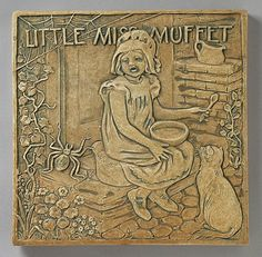 Little Miss Muffet Tile. Ernest Allan Batchelder (1875 - 1957) , Batchelder Tile Company (United States, 1909 - 1932). Set of Three Nursery Rhyme Tiles, circa 1925. Ceramic, Earthenware, 12 x 12 in.
