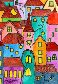 Original Cartoon Printmaking by Emanuela Boursier Diy Painting, House Painting, Zentangle, Karla Gerard, Art Connection, House Quilts, Urban Sketching, Naive Art, Bible Art