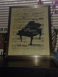 Piano printed on sheet music DIY