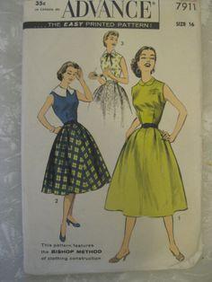 1950s vintage Advance classic dress pattern 34 Bust by dudeefinds, $10.00