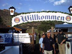 Welcome! Willkommen! Biergarten Festival Entrance.