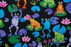 Funny Frog Fabric on Black Cotton for by vintageinspiration, $15.00